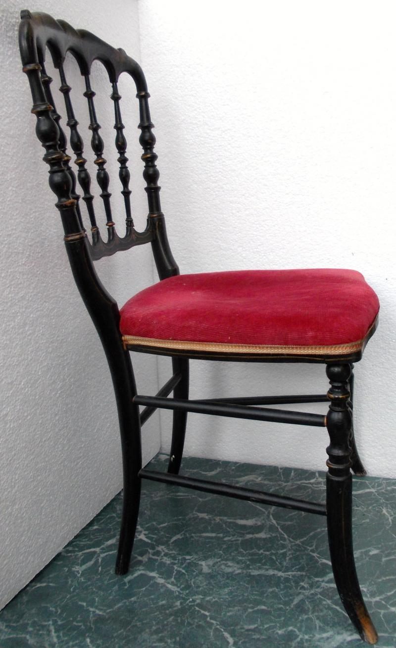 chaise ancienne poque napoleon iii bois noirci ebay. Black Bedroom Furniture Sets. Home Design Ideas
